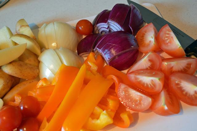 Sliced veg - so colourful!