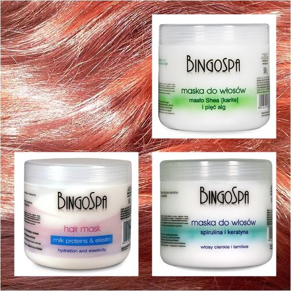 Maski do włosów bingo - masło shea i algi, mleczna z elastyną oraz ze spiruliną i keratyną