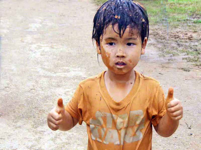 child, festival, mud, Okinawa