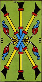 trois de bâton à l'envers