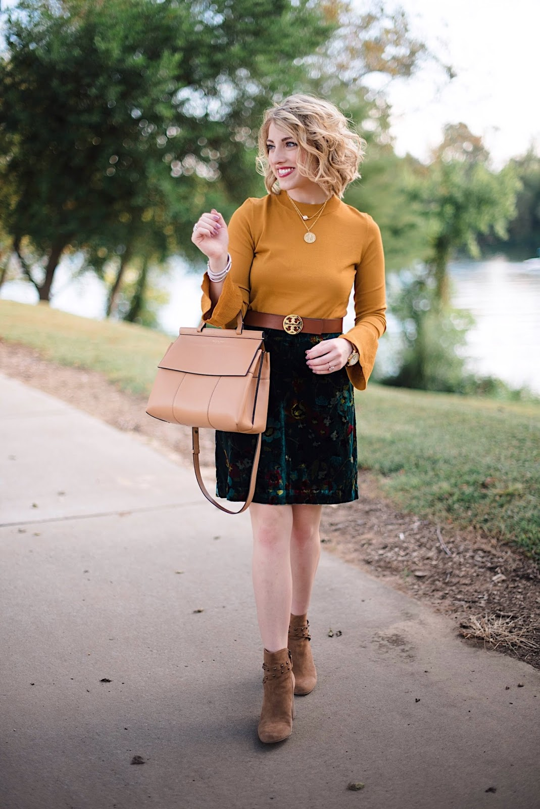 Velvet Skirt & Mustard Yellow Bell Sleeve Sweater - Something Delightful