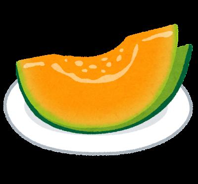 お皿の上のメロンのイラスト(オレンジ)