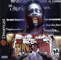 """Zumbi em frente a um teclado, na lateral está escrito """"Dreamcast"""" e na parte inferior """"Typing of the dead, type or dead"""""""