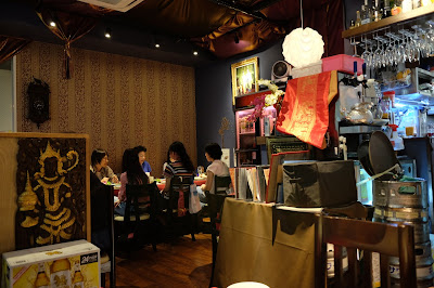 A table of guests at Smile Thailand restaurant in Asakusabashi, Tokyo, Japan.