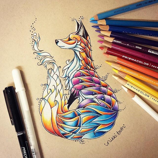 03-Fox-Nikki-Beth-Animal-Portrait-Drawings-in-different-Styles-www-designstack-co