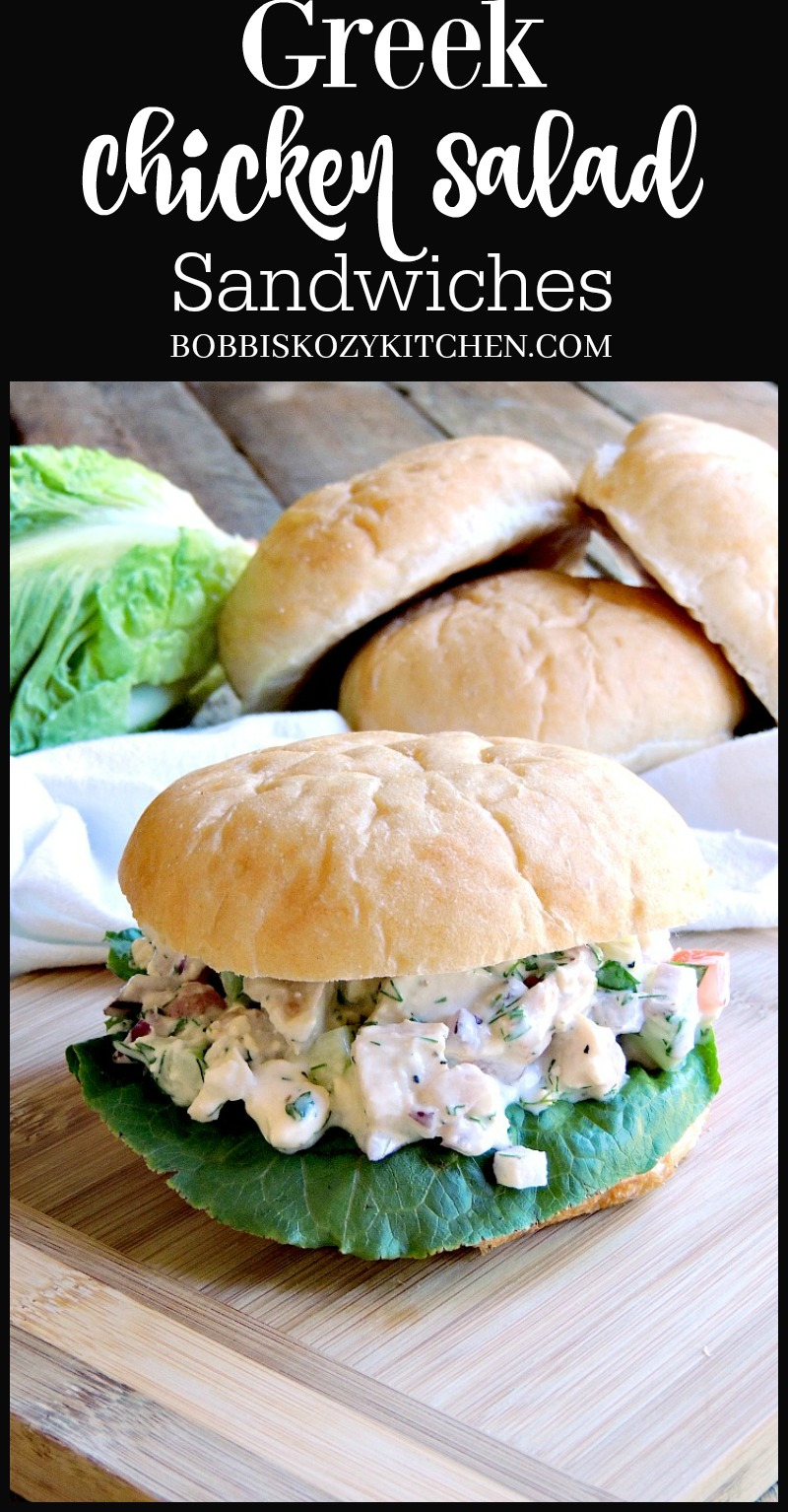 Greek Chicken Salad Sandwiches With fresh cucumber, tomato, and onion, plus ZERO mayo, this is a chicken salad that you can feel good about serving to your family! #Greek #chicken #salad #sandwich #healthy #Nomayo #recipe | bobbiskozykitchen.com