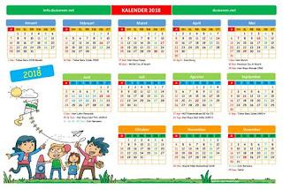 Download Kalender 2018 Versi PDF, Excel dan JPG