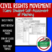 American History I Cans, Student Self-Assessment of Mastery, Civil Rights Movement