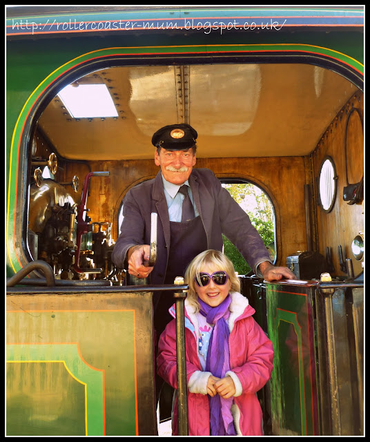 Train driver on the steam train, Bluebell Railway