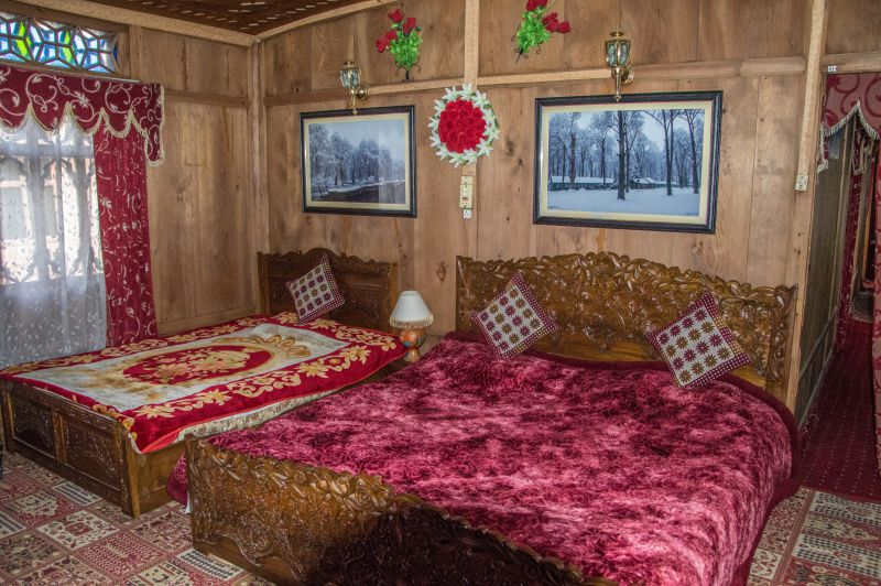 Ornately carved interiors of the houseboat