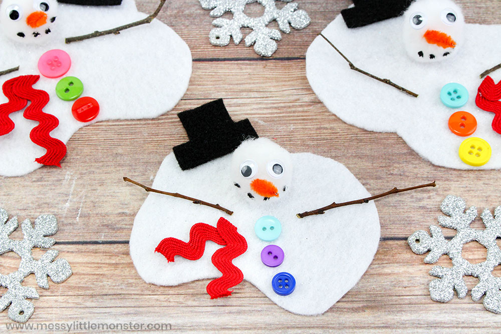 Melting snowman craft for preschoolers