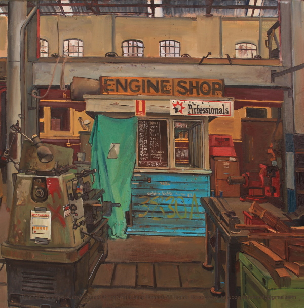 plein air oil painting on canvas of 'Engine shop, Large Erecting Shop, Eveleigh Railway Workshops' by industrial heritage artist Jane Bennett
