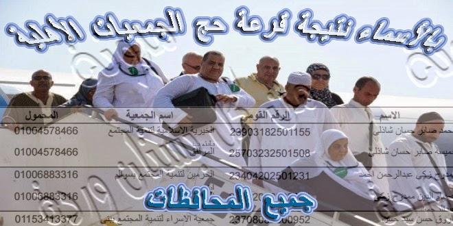 بالأسماء نتيجة قرعة حج الجمعيات الأهلية 2015/1436 جميع محافظات مصر