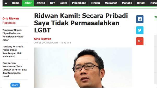 Astaga! Ridwan Kamil Anggap Perilaku dan Menjadi LGBT adalah Hak di Negeri Pancasila