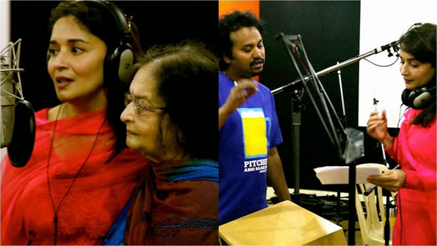 Madhuri Dixit Singing in recording studio for first time for Gulaab Gang with Her Mother