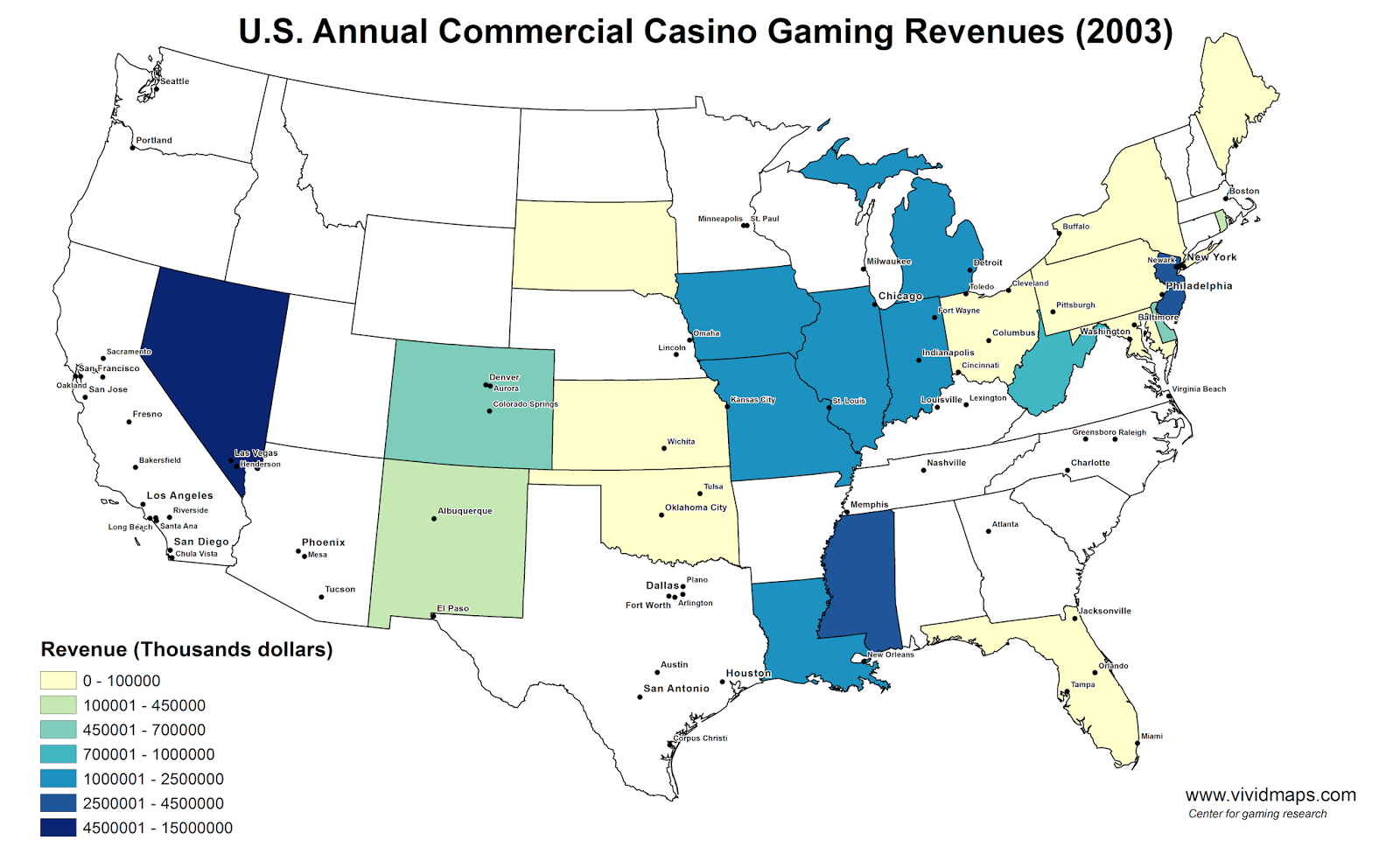U.S. Annual Commercial Casino Gaming Revenues (2003)