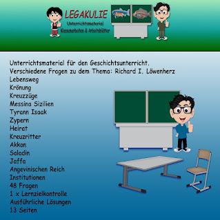 Richard I. Löwenherz Klassenarbeit Arbeitsblatt PDF