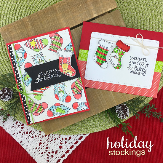 Christmas Stocking Cards by Jennifer Jackson | Holiday Stockings Stamp Set and Stylish Stockings Die Set by Newton's Nook Designs #newtonsnook #handmade