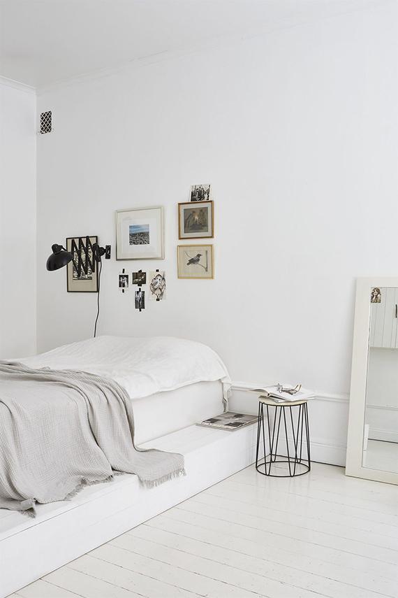 white bedroom via Fantastic Frank