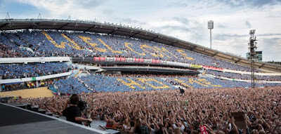"Springsteen The River Tour 2016 at Gothenburg. The fans created big sign message to Bruce, ""Welcome Home"""