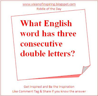 What English word has three consecutive double letters? - Vision of ...