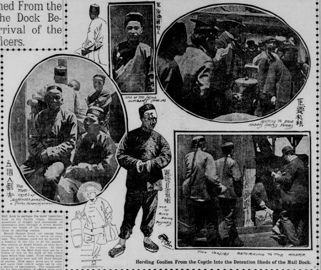 """Caption, """"Herding Coolies from the Coptic into the Detention Sheds of the Mail Dock"""" San Francisco Call, May 12, 1900; California Digital Newspaper Collection"""