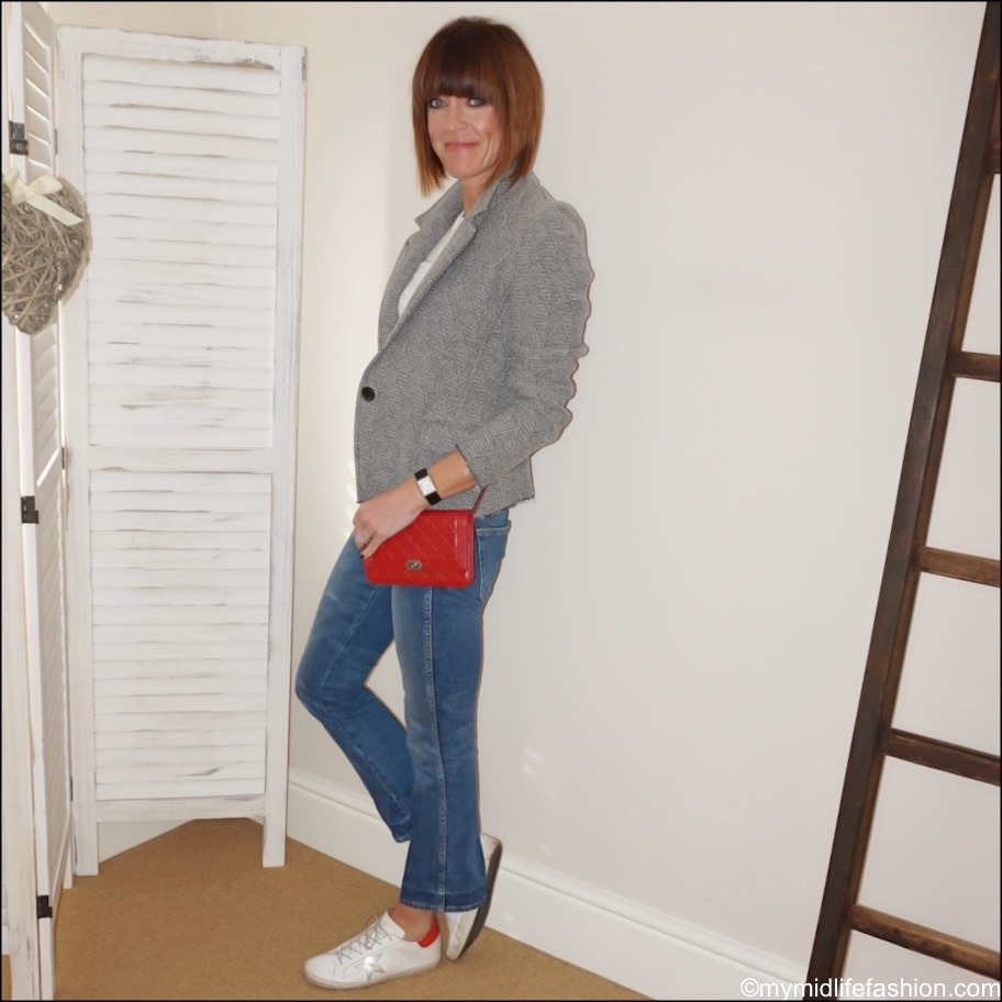 my midlife fashion, marks and Spencer drape short sleeve t shirt, golden goose superstar low top leather trainers, Chanel wallet on chain, j crew cropped kick flare jeans, Isabel Marant Etoile tweed jacket