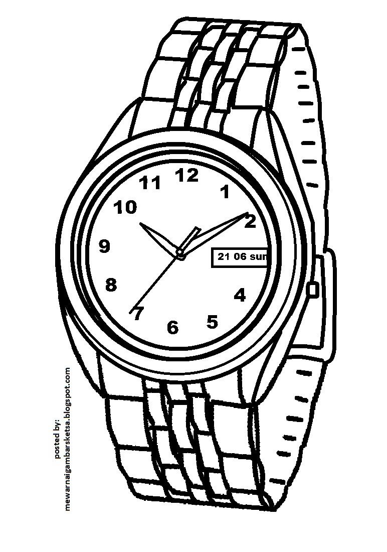 mewarnai gambar mewarnai gambar sketsa jam tangan 4
