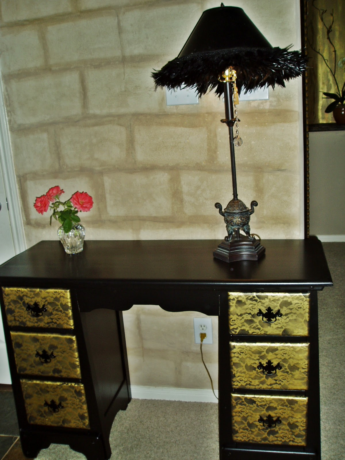 Faux Painting Furniture Black Gold Texas Rose Desk Vanity