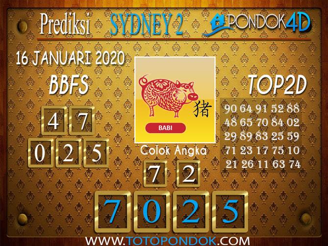Prediksi Togel SYDNEY 2 PONDOK4D 16 JANUARI 2020