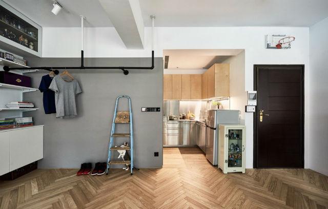 reforma piso pequeño transformado en loft, salón y cocina