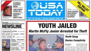 Prima pagina dell'''Usa Today'' realmente uscita il 22 ottobre 2015