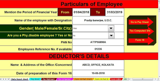Details of Income Tax Deduction or Exemption For the F.Y.2018-19 With Automated All in One TDS on Salary for Non-Govt(Private) Employees for F.Y.2018-19
