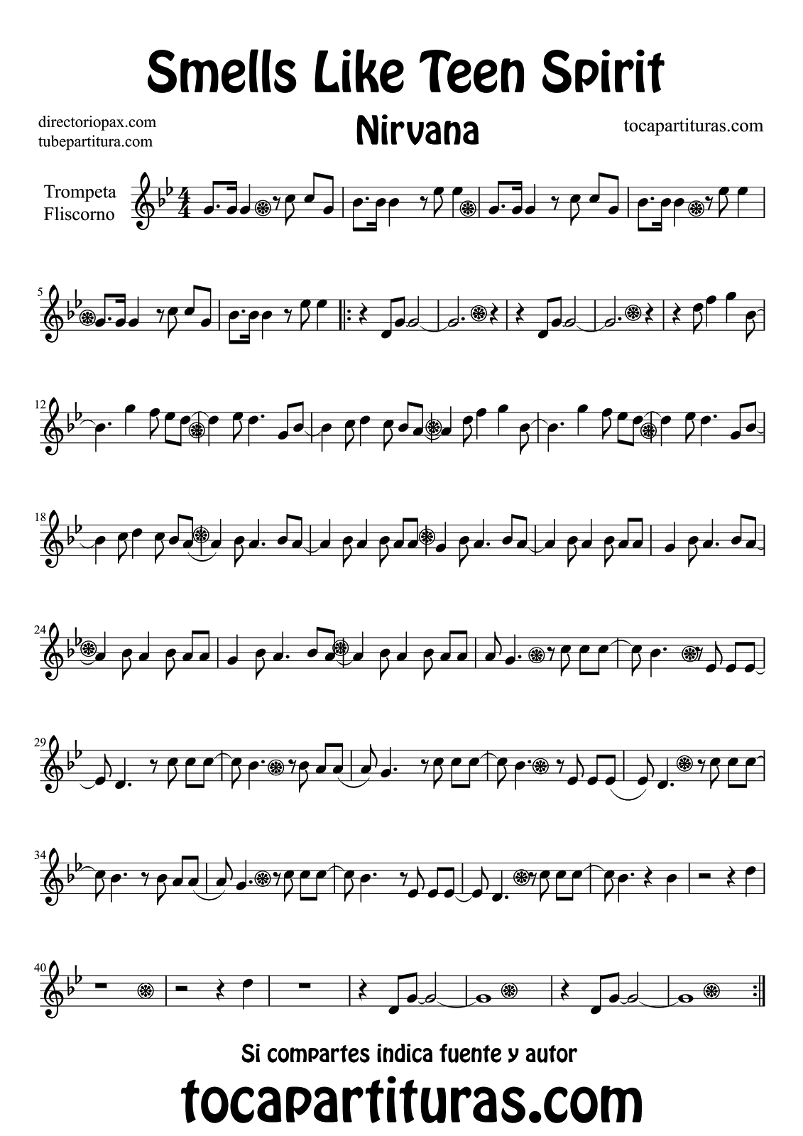 Diegosax Smells Like Teen Spirit De Nirvana Partitura De Flauta Violín Saxofón Alto Trompeta Viola Oboe Clarinete Saxo Tenor Soprano Sax Trombón Fliscorno Violonchelo Fagot Barítono Bombardino Trompa Tuba Elicón Y Corno