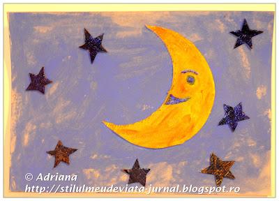 luna si stele, craft pentru copii din carton reciclat