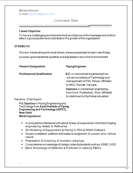 Dynamic Resume: CV Formats Mechanical Engineer