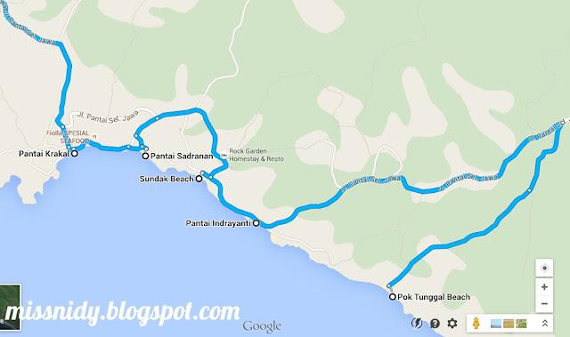 peta pantai-pantai di Yogyakarta
