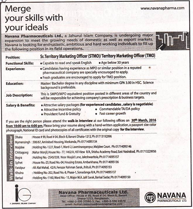 All Newspaper Jobs Navana Pharmaceuticals Limited Position Senior