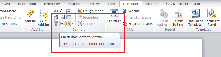 word checkbox invoegen