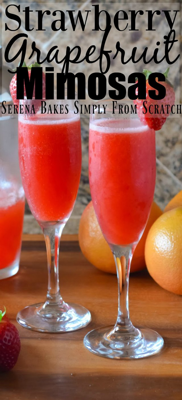 Strawberry Grapefruit Mimosas with tequila and pink moscato champagne from Serena Bakes Simply From Scratch.