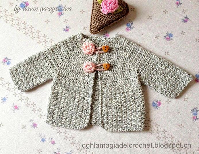 dc9e2398a La Magia del Crochet: SAQUITO PARA BEBÉ CON PUNTO PIEL DE LIMÓN AL ...
