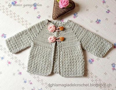 La Magia del Crochet: SAQUITO PARA BEBÉ CON PUNTO PIEL DE LIMÓN AL ...