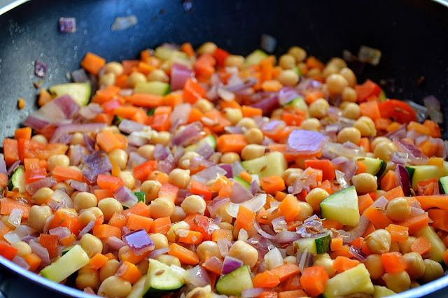 Fry the vegetables in a pan