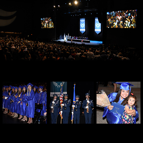 Composite of images from graduation ceremony.  Wide shot of the stage, wide shot of a group of students, color guard in formation and a young mom grad with her daughter.