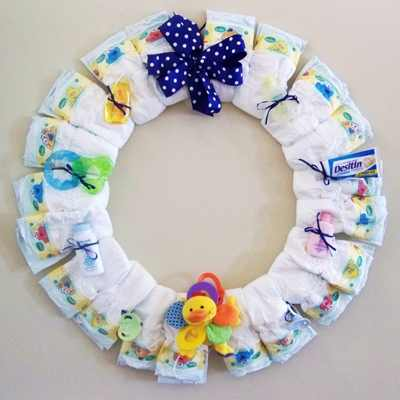 Creations By Karla Baby Boy Diaper Wreath