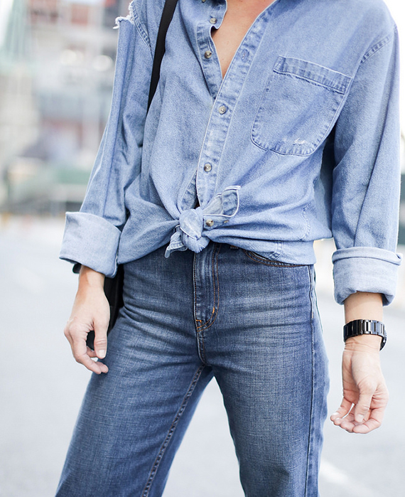 Denim all over via Happily Grey