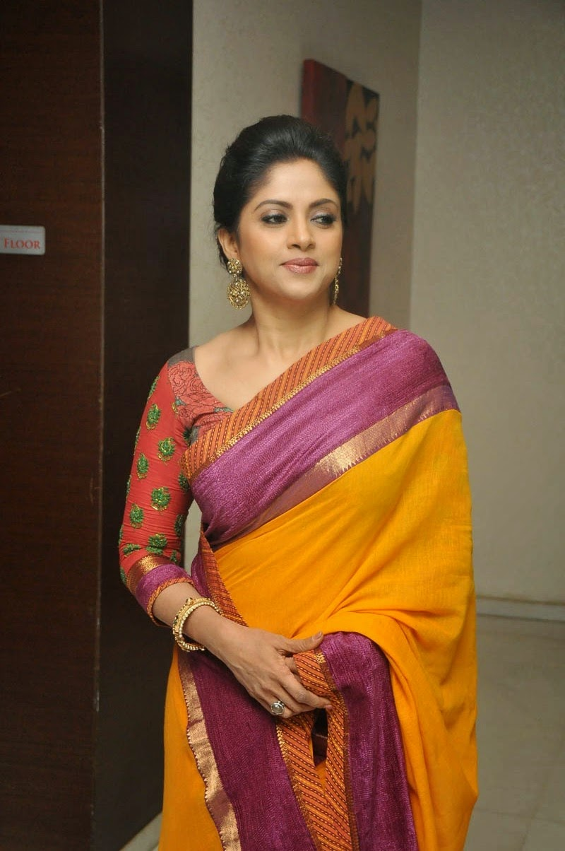 Nadhiya Latest Spicy Stills In Colorful Yellow Saree