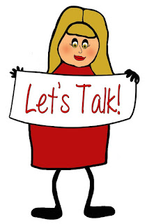 A stick figure girl in red dress holding a sign that says Let's Talk.