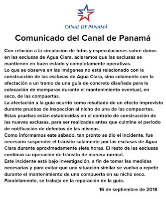 Comunicado del Canal de Panamá Esclusas de Agua Clara