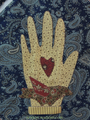 machine applique stitched hand